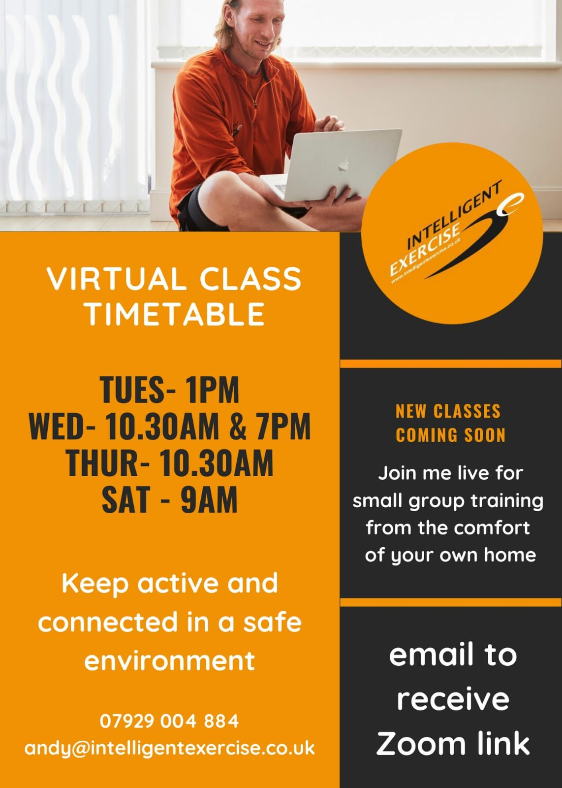 Andy Shaw virtual fitness class timetable